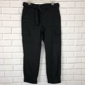 THEORY Linen Blend Black Cargo Joggers Pants sz 4